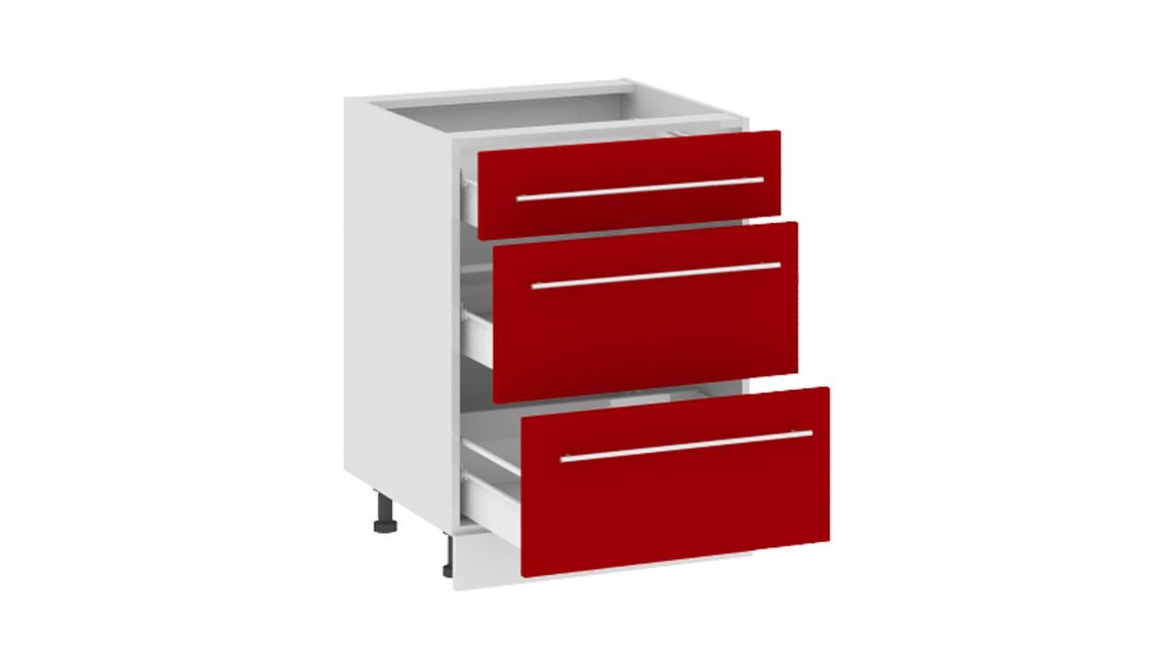 Ассорти (вишня) шкаф нижний 82 см с 3-мя ящиками (72х60) - и.
